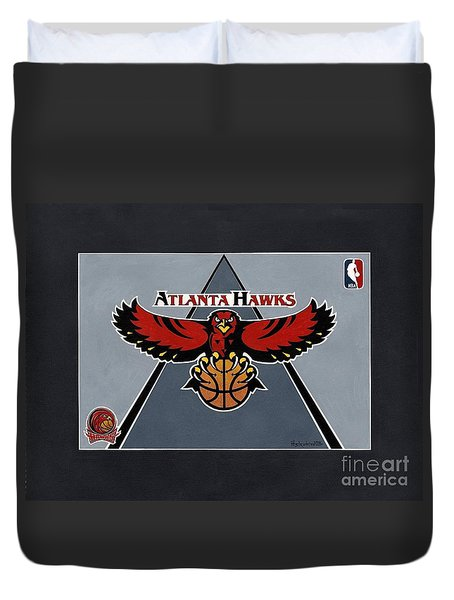 Atlanta Hawks T-shirt Duvet Cover by Herb Strobino