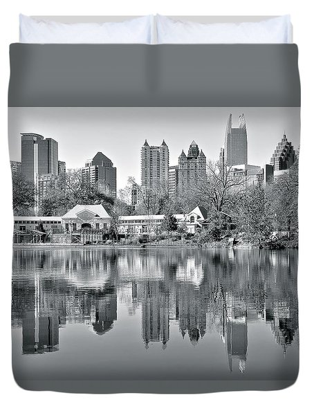 Atlanta Reflecting In Black And White Duvet Cover by Frozen in Time Fine Art Photography