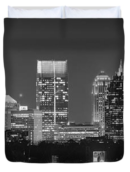 Atlanta Skyline At Night Downtown Midtown Black And White Bw Panorama Duvet Cover by Jon Holiday
