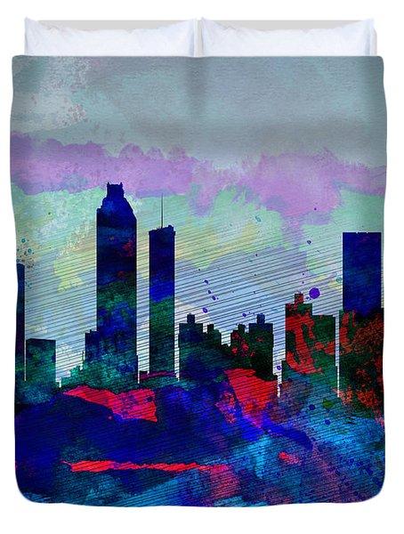 Atlanta Watercolor Skyline Duvet Cover