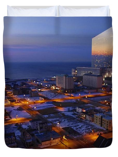 Atlantic City At Dawn Duvet Cover