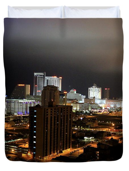Atlantic City At Night Duvet Cover