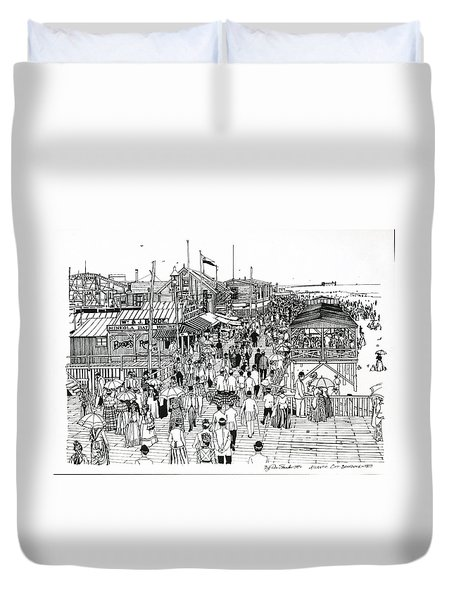 Duvet Cover featuring the drawing Atlantic City Boardwalk 1890 by Ira Shander