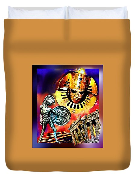 Duvet Cover featuring the mixed media Atlantis - The Minoan Empire Has Fallen by Hartmut Jager