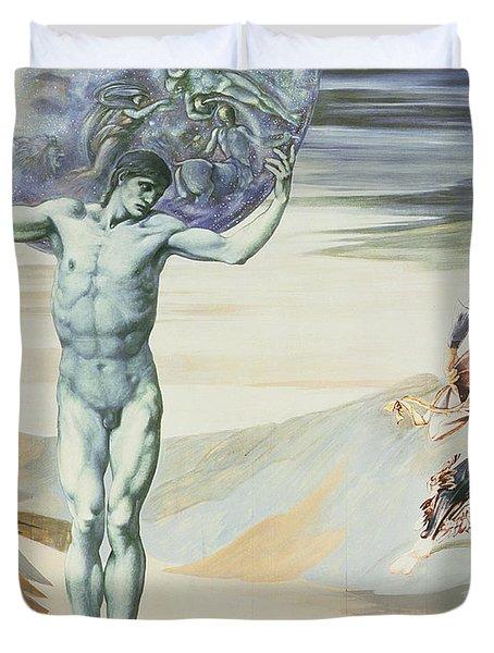 Atlas Turned To Stone, C.1876 Duvet Cover by Sir Edward Coley Burne-Jones