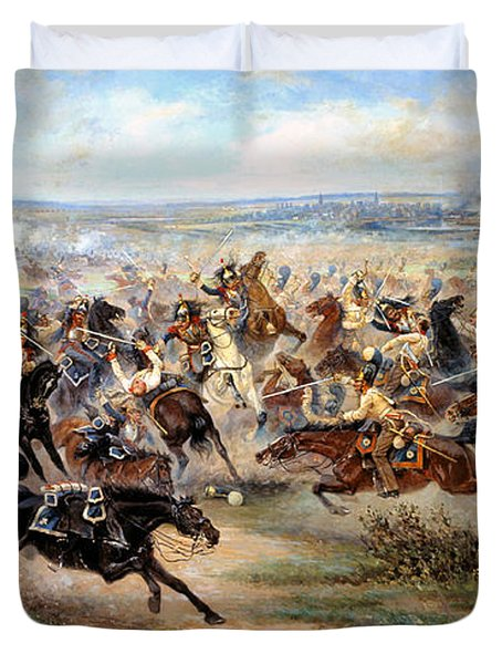 Attack Of The Horse Regiment Duvet Cover by Victor Mazurovsky