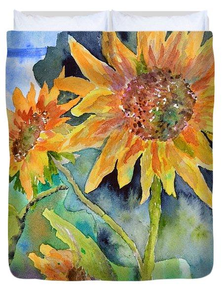 Attack Of The Killer Sunflowers Duvet Cover