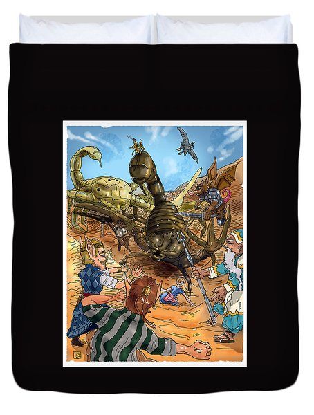 Duvet Cover featuring the painting Attacked By Scorpions by Reynold Jay