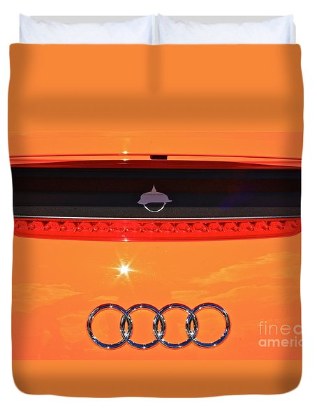 Duvet Cover featuring the photograph Audi Orange by Linda Bianic