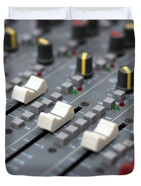 Duvet Cover featuring the photograph Audio Mixing Board Console by Gunter Nezhoda