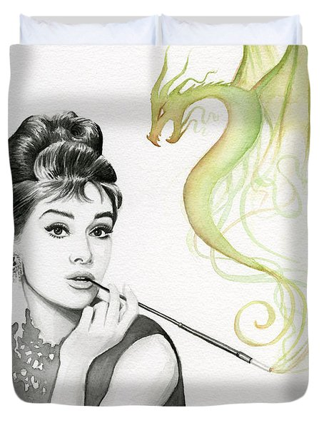 Audrey And Her Magic Dragon Duvet Cover
