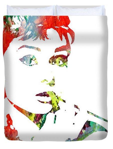 Audrey Hepburn - Watercolor Duvet Cover