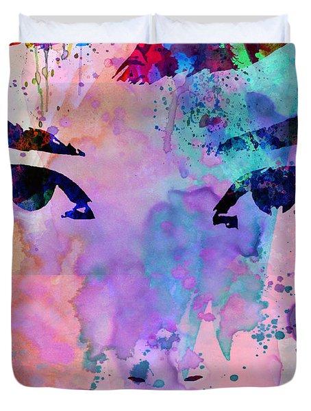 Audrey Watercolor Duvet Cover by Naxart Studio