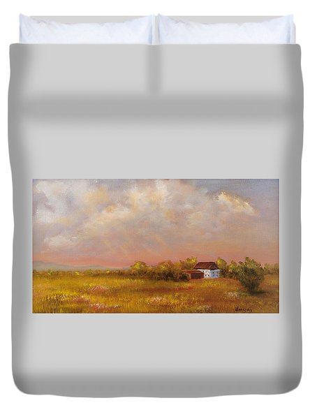 Duvet Cover featuring the painting August Afternoon Pa by Katalin Luczay