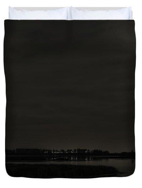 August Full Moon Over Lake Wausau Duvet Cover