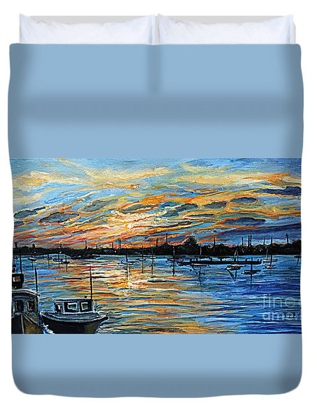 Duvet Cover featuring the painting August Sunset In Woods Hole by Rita Brown