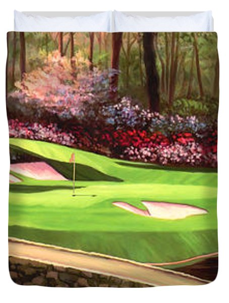 Augustas 12 Hole 28x9 Duvet Cover by Tim Gilliland