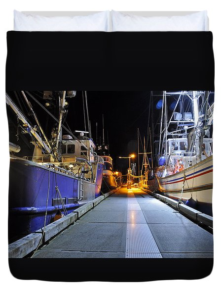 Duvet Cover featuring the photograph Auke Bay By Night by Cathy Mahnke