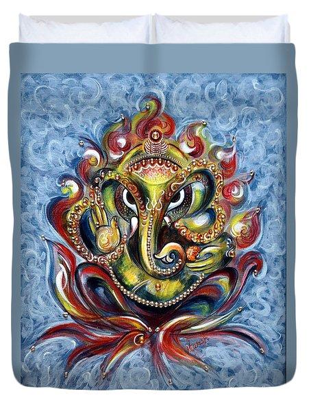 Aum Ganesha Duvet Cover by Harsh Malik