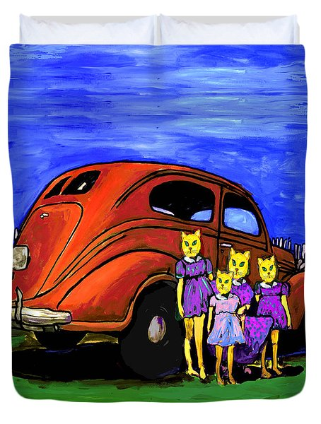 Aunt Laverne And The Kitties Duvet Cover