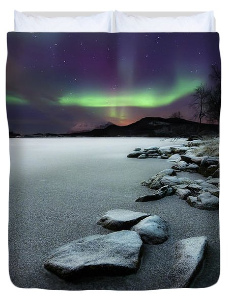 Duvet Cover featuring the photograph Aurora Borealis Over Sandvannet Lake by Arild Heitmann