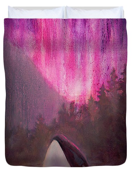 Orca Whale And Aurora Borealis - Killer Whale - Northern Lights - Seascape - Coastal Art Duvet Cover