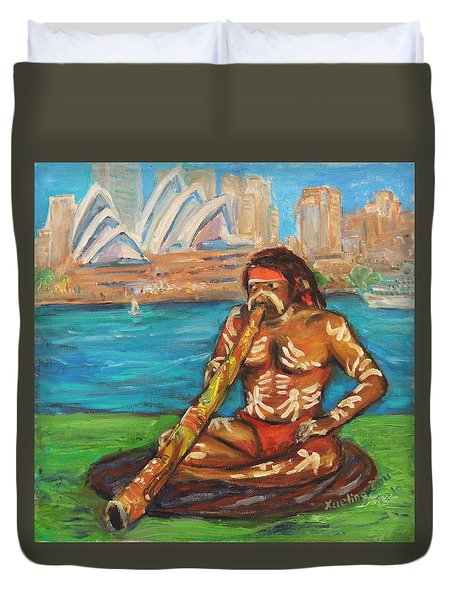 Duvet Cover featuring the painting Aussie Dream I by Xueling Zou