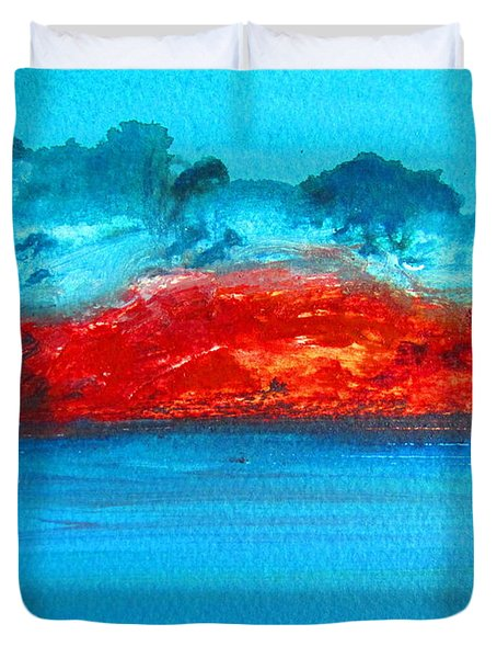 Duvet Cover featuring the painting Aussie Outback by Roberto Gagliardi