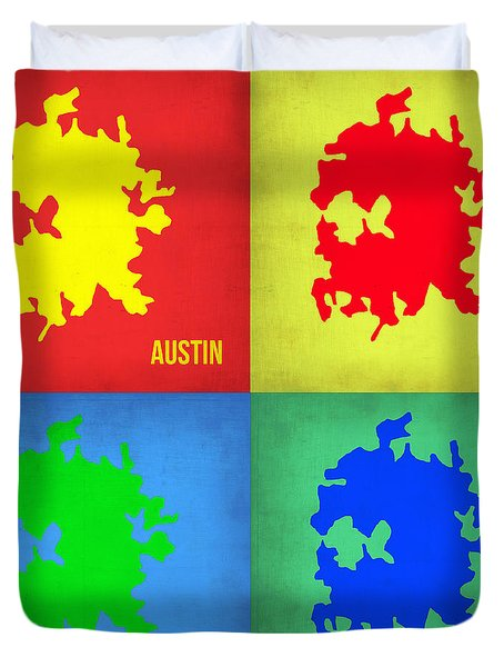 Austin Pop Art Map 1 Duvet Cover
