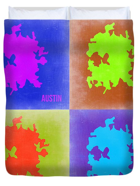 Austin Pop Art Map 2 Duvet Cover