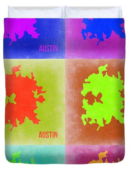 Austin Pop Art Map 4 Duvet Cover by Naxart Studio
