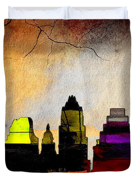 Austin Skyline Watercolor Duvet Cover by Marvin Blaine