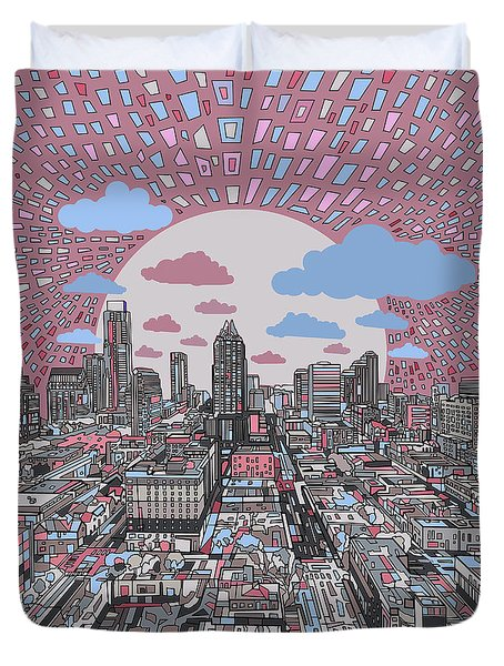 Austin Texas Abstract Panorama 3 Duvet Cover