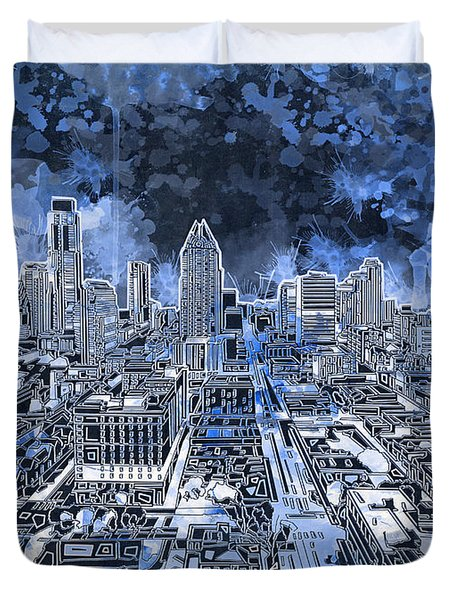 Austin Texas Abstract Panorama 5 Duvet Cover