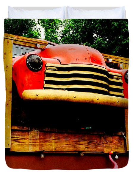 Austin Texas - Maria's Taco Express - Luther Fine Art Duvet Cover