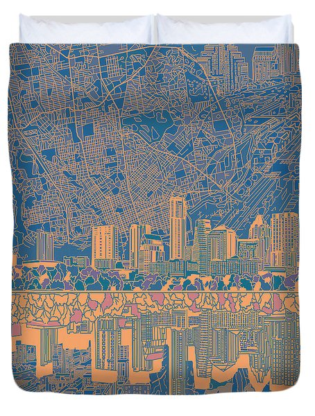 Austin Texas Skyline 2 Duvet Cover