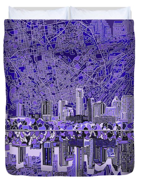 Austin Texas Skyline 4 Duvet Cover