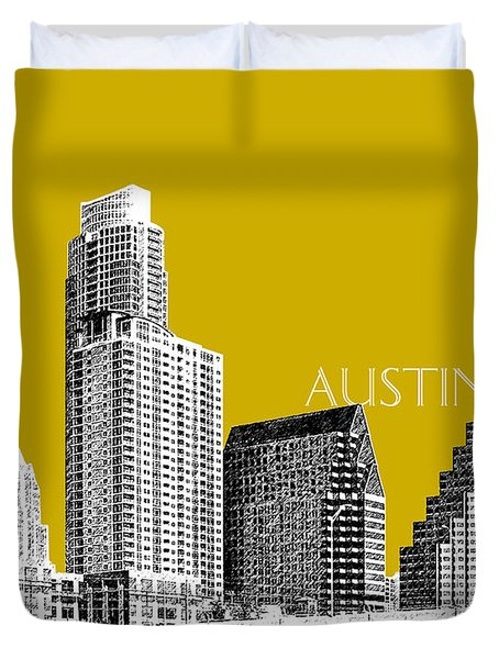 Austin Texas Skyline - Gold Duvet Cover