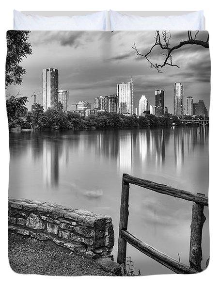 Austin Texas Skyline Lou Neff Point In Black And White Duvet Cover by Silvio Ligutti