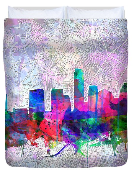 Austin Texas Skyline Watercolor 2 Duvet Cover
