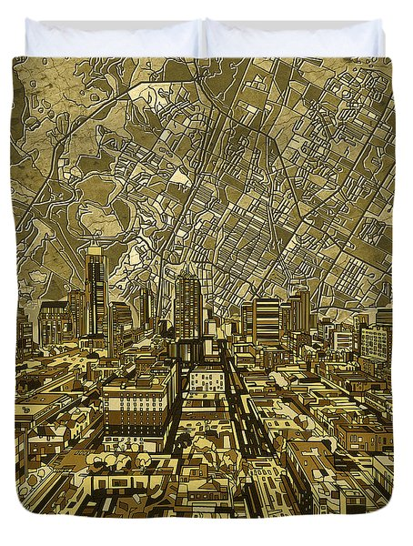 Austin Texas Vintage Panorama Duvet Cover by Bekim Art