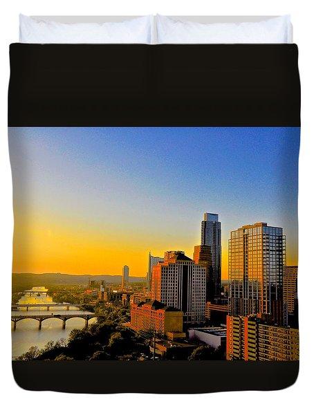 Austin's Golden Skyline Duvet Cover