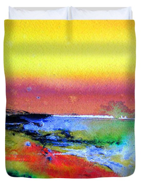 Duvet Cover featuring the painting Australia Beach Scene by Roberto Gagliardi