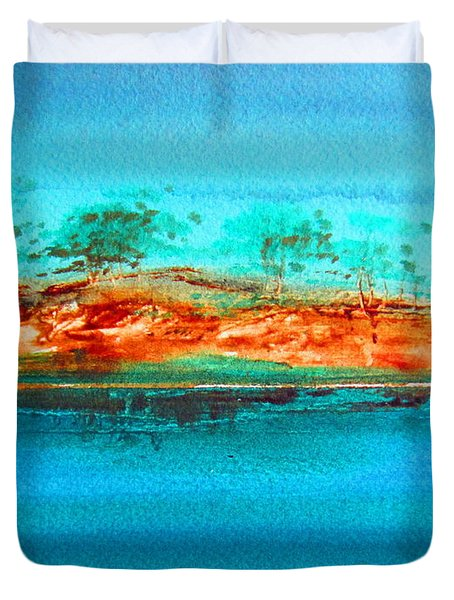 Duvet Cover featuring the painting Australia Billabong 1 by Roberto Gagliardi