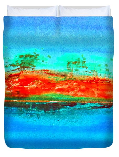 Duvet Cover featuring the painting Australia Billabong 2 Intense by Roberto Gagliardi