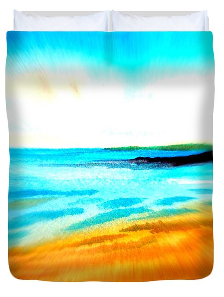Duvet Cover featuring the drawing Australian Beach In The Morning Near Cottesloe by Roberto Gagliardi