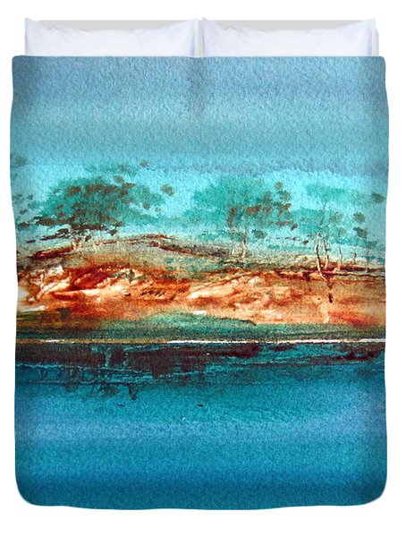 Duvet Cover featuring the painting Australian Billabong 3 Natural by Roberto Gagliardi