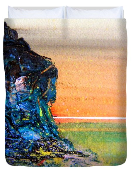 Duvet Cover featuring the painting Australian Cliff by Roberto Gagliardi