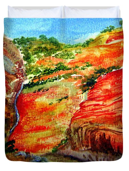 Duvet Cover featuring the painting Australian Gorge Nt by Roberto Gagliardi