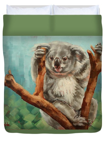 Duvet Cover featuring the painting Australian Koala by Margaret Stockdale